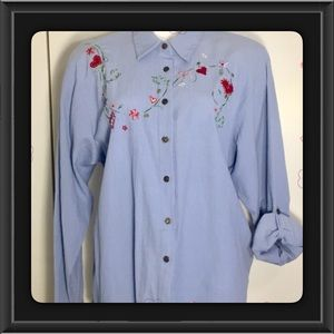 Vintage Embroidered Hearts Shirt XL